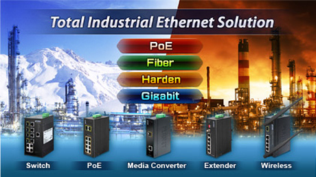 Total Industrial Ethernet Solution - PoE Fiber Harden Gigabit