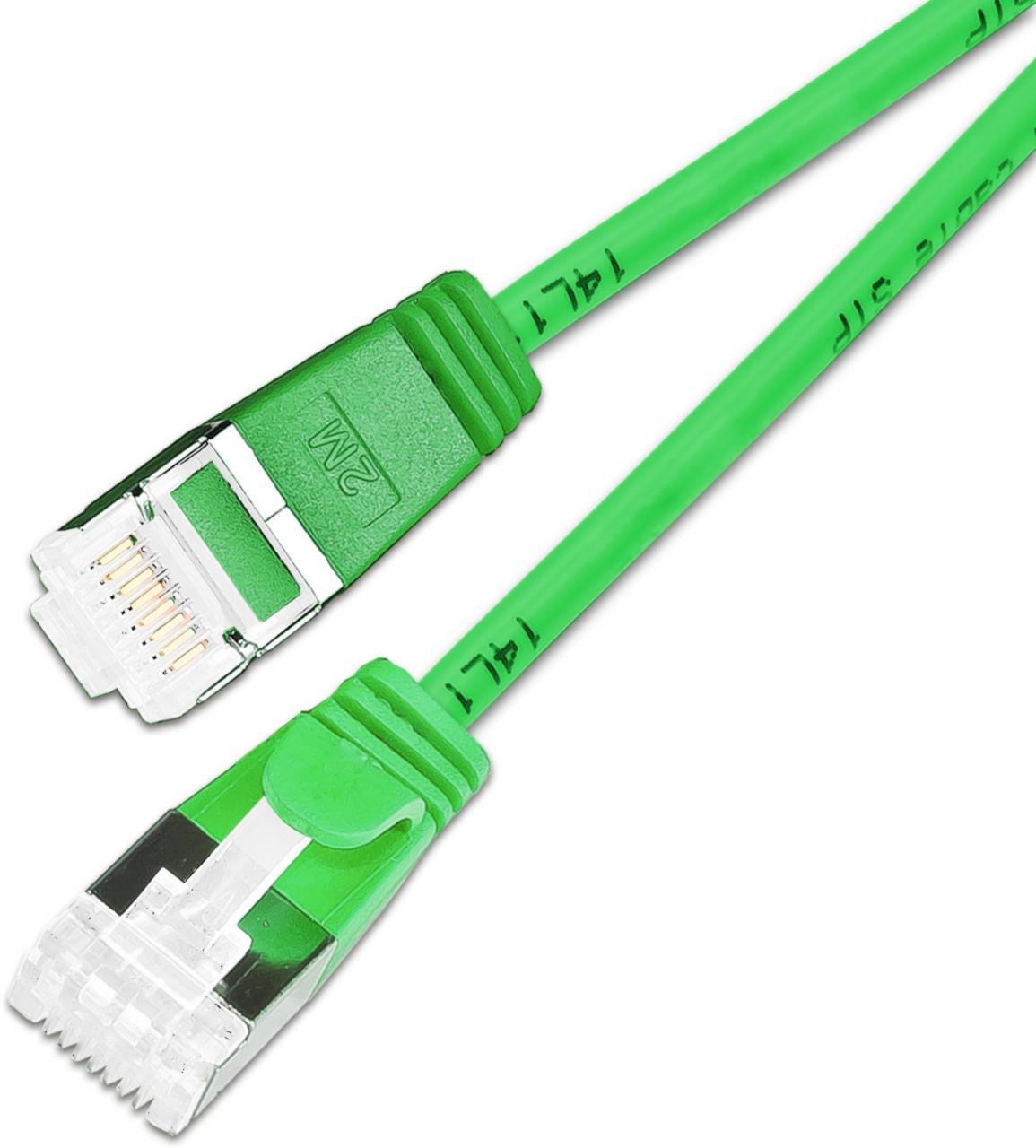 KAT6A 10 Gigabit Lightpatchkabel rund, U/FTP, Ø 3,8mm, grün