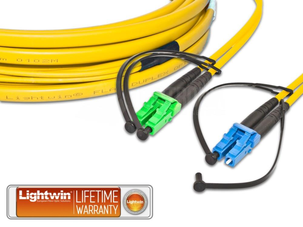 High Quality Flat-Duplex LWL Patchkabel, SM, LC/APC - LC