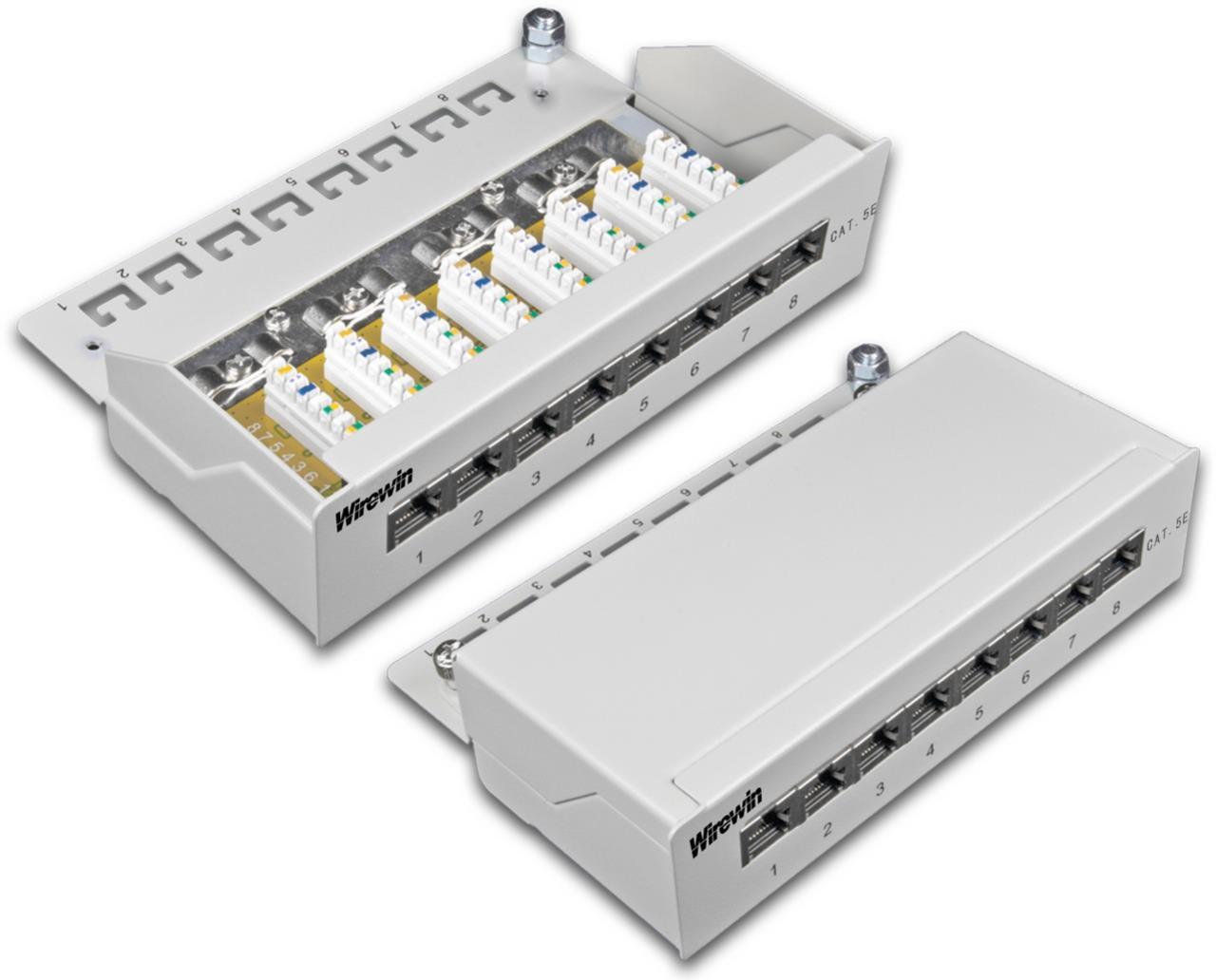 8-Port KAT5e Desktoppanel, geschirmt, LSA Anschluss
