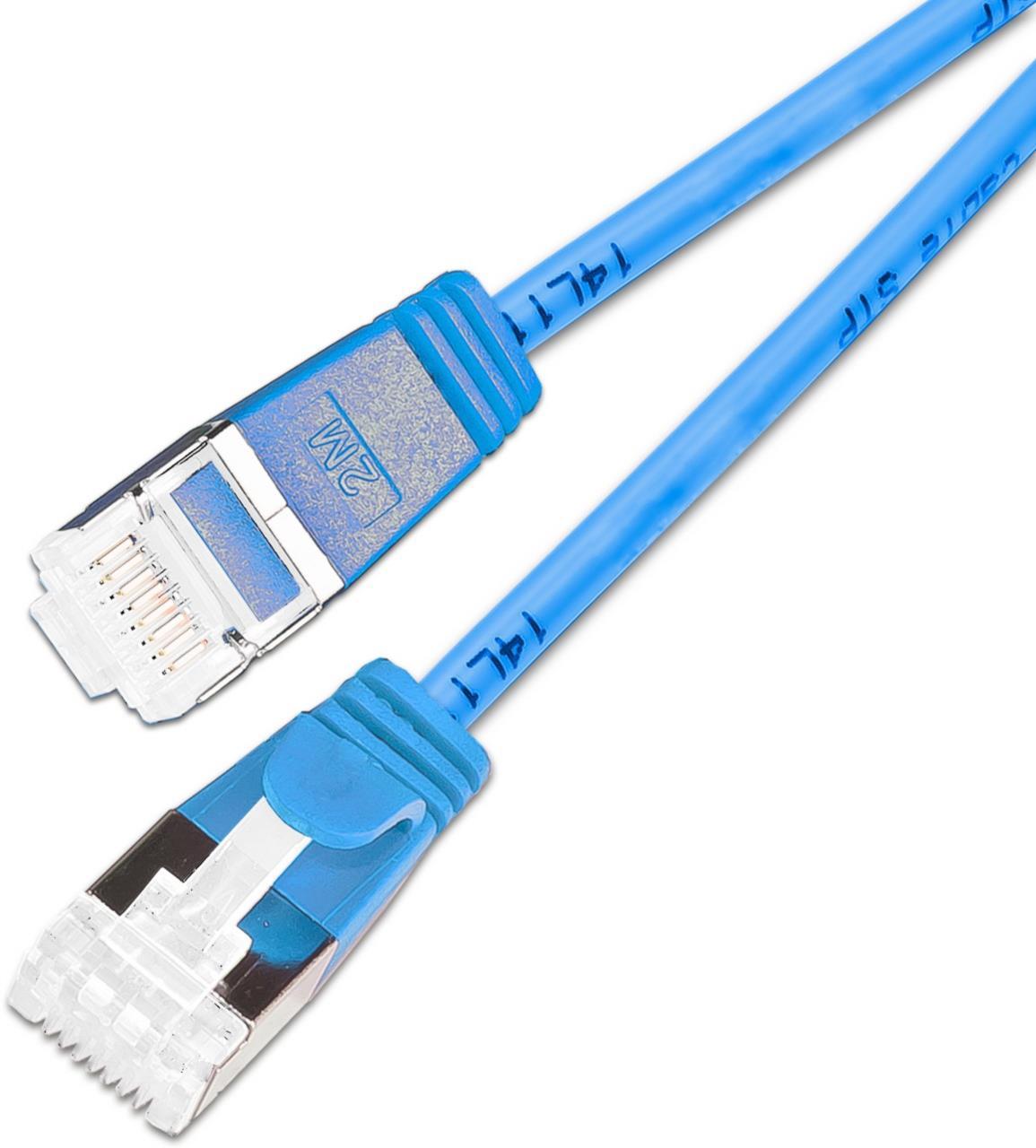 KAT6A 10 Gigabit Lightpatchkabel rund, U/FTP, Ø 3,8mm, blau