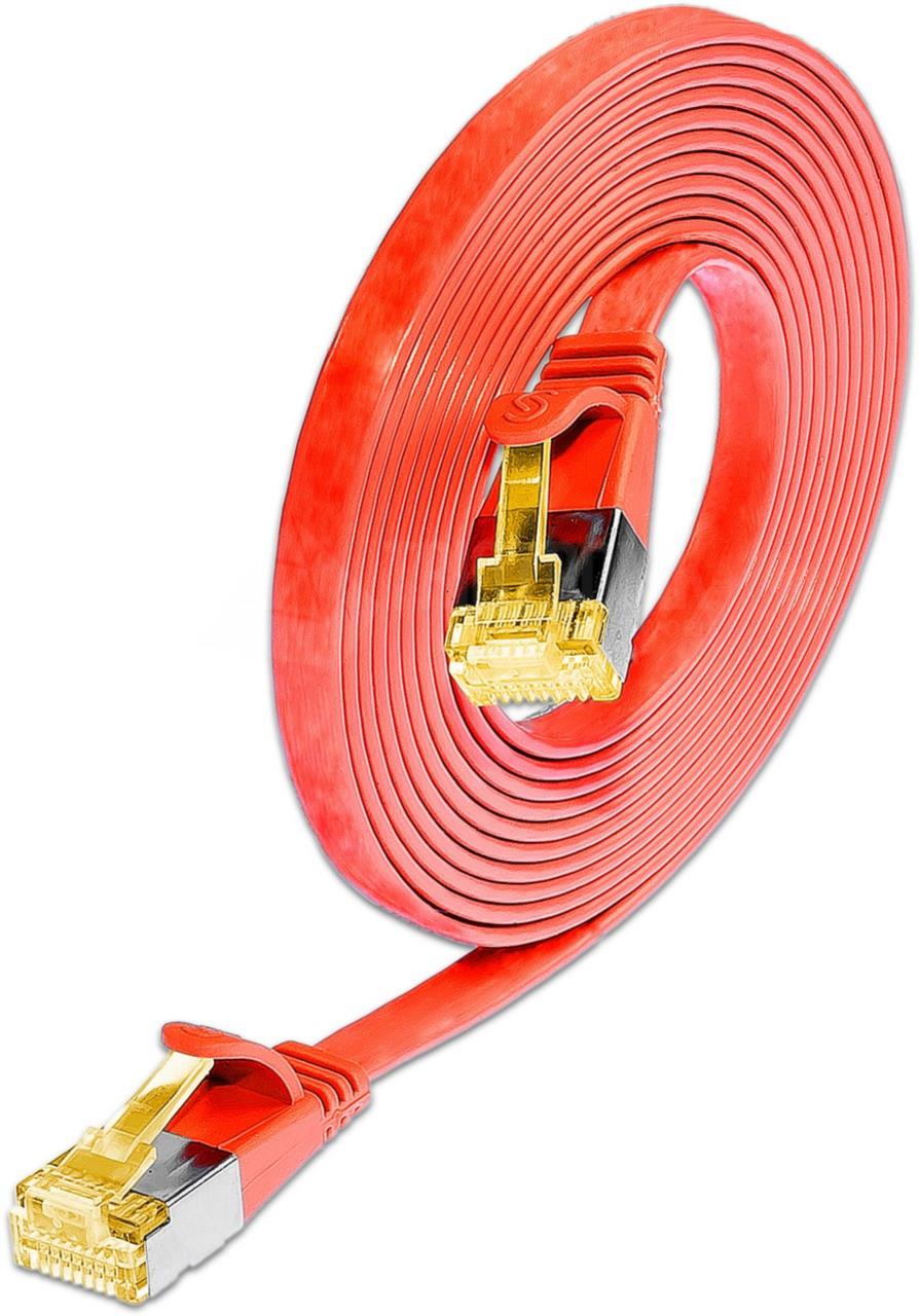 KAT6A 10 Gigabit Slimpatchkabel, U/FTP, flach, rot
