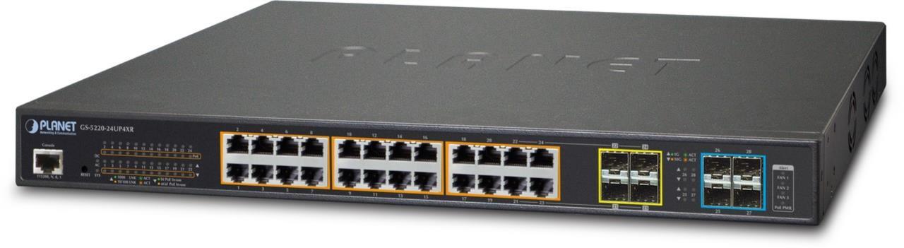 L2+/L4 24Port Gbit + 4Port Shared SFP + 4Port 10G SFP+ managed Switch, 400W PoE
