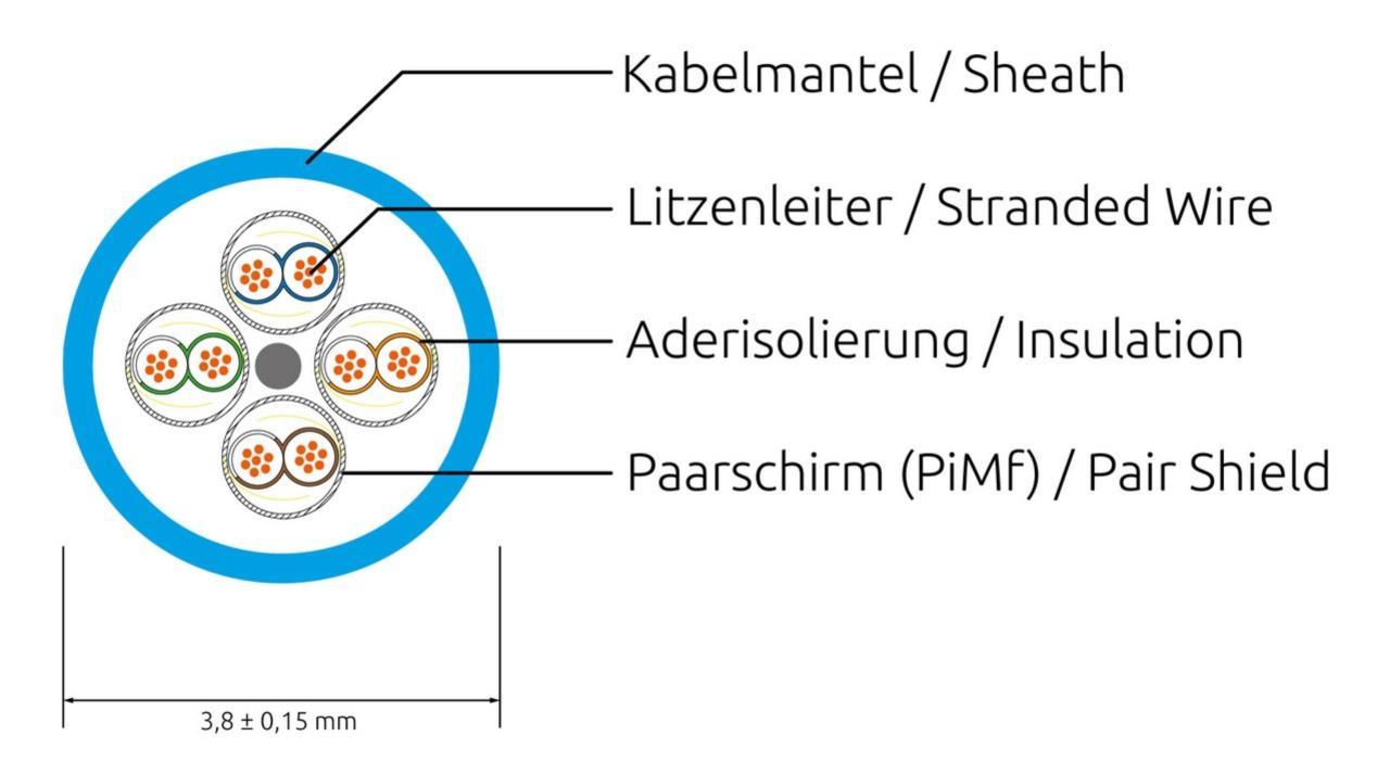 KAT6A 10 Gigabit Lightpatchkabel rund, U/FTP, Ø 3,8mm, gelb